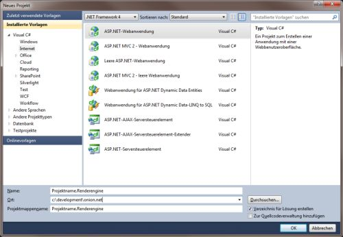 "Dialogue ""New Projekt"" in Visual Studio for creating an ""ASP.NET web application"" named ""{Projektname}.Renderengine"""